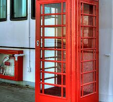 Vintage Telephone Booth on the Queen Mary (Long Beach, California) by Brendon Perkins