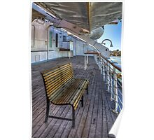 Deck Bench on the Queen Mary (Long Beach, California) Poster