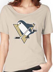 Pittsburgh Penguins x Gunther Mashup - Gunther Playing Hockey Logo Mixup Women's Relaxed Fit T-Shirt