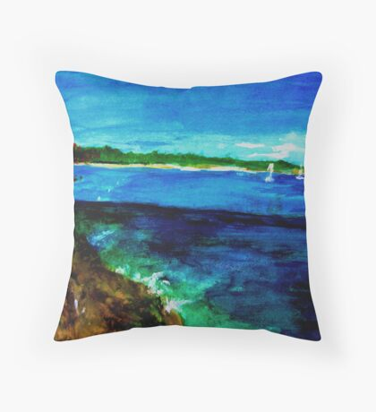 Italy View to a Lake Throw Pillow