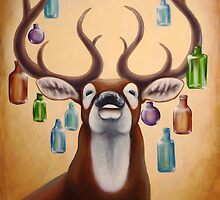 Deer with glassbottles by Teresewa