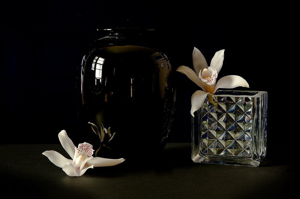 Vase and Orchids by Lee LaFontaine