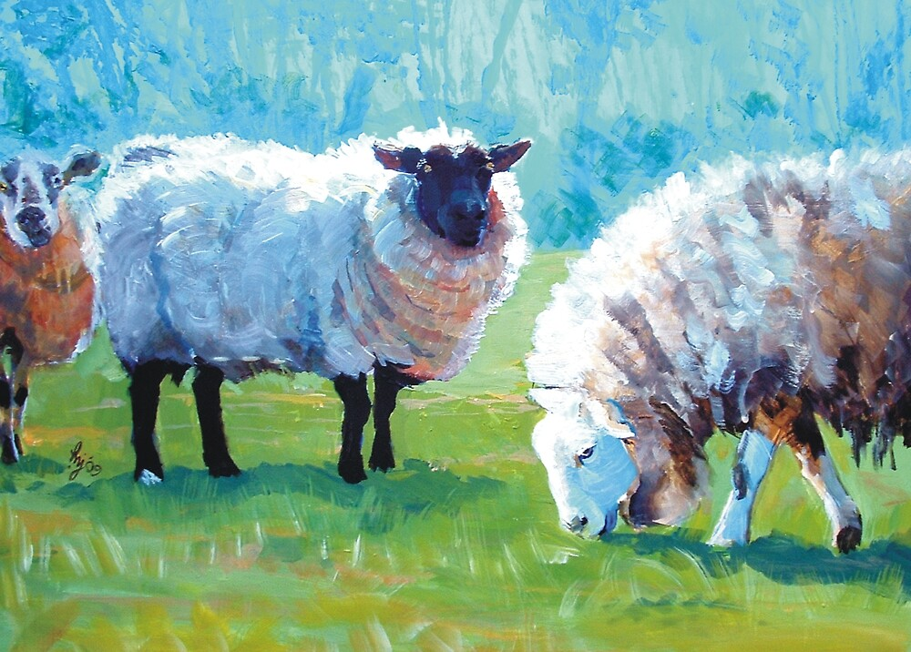 Summer Light - Acrylic Painting of Sheep in Sun Light by MikeJory