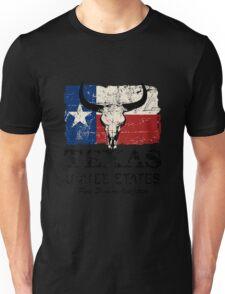 U.S. State Texas Bull Skull Flag - Vintage Look Unisex T-Shirt