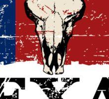 U.S. State Texas Bull Skull Flag - Vintage Look Sticker