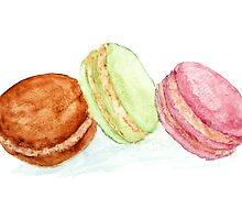 Watercolour macaroon cakes by Ana Marques