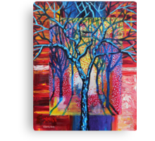'Blue Trees in an Abstract Forest' Canvas Print