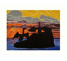 Sea birds basking at sunrise Art Print