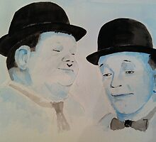 Laurel & Hardy a Wistful Moment by dennysart