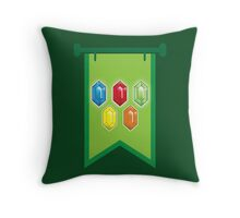 BANNER CREST SIGIL Green with 5 jewels rupees Blue, red, green and orange Throw Pillow