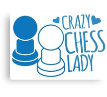 Crazy Chess Lady with chess pieces pawns Metal Print