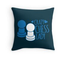 Crazy Chess Lady with chess pieces pawns Throw Pillow
