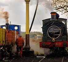 Steam train maintenance in the snow, East Somerset Railway by buttonpresser