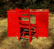 Red Desk and Chair by Rodney Williams