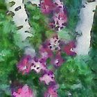 Birches With Clematis by Kenneth Hoffman