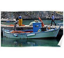 Blue Boat - Puglia Italy Poster
