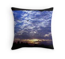 Flying in blue sky Throw Pillow