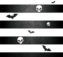 Halloween Stripes with Skulls and Bats by wightjester