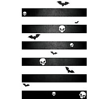 Halloween Stripes with Skulls and Bats Photographic Print
