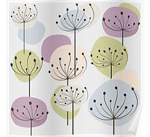 Pastel dandelion flowers background Poster