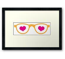 cute geeky eye glasses with love hearts Framed Print