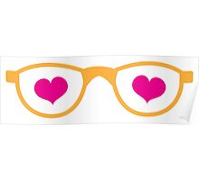 cute geeky eye glasses with love hearts Poster