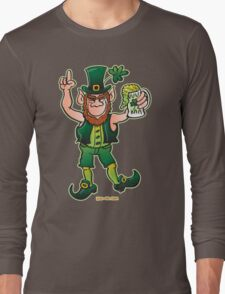 Saint Patrick's Day Leprechaun Drinking Beer Long Sleeve T-Shirt
