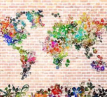 world map floral 1 by BekimART