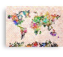world map floral 1 Canvas Print