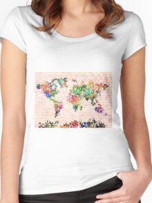 world map floral 1 Women's Fitted Scoop T-Shirt