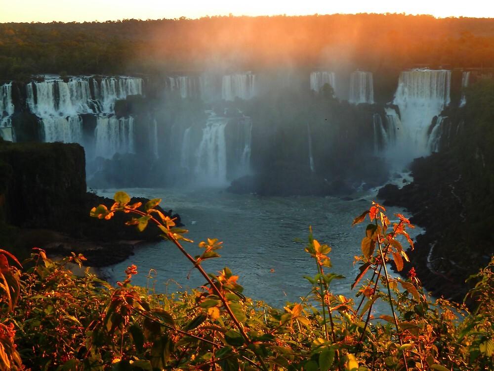 sunset at Iguassu Falls by supergold
