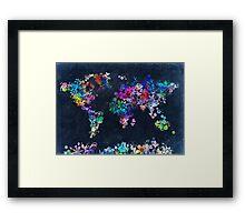 world map floral 2 Framed Print