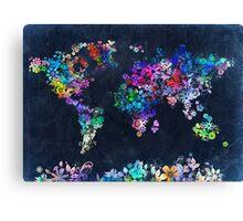 world map floral 2 Canvas Print