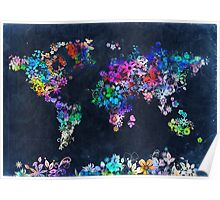 world map floral 2 Poster