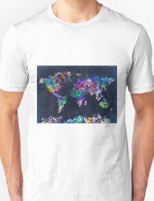 world map floral 2 T-Shirt