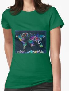 world map floral 2 Womens Fitted T-Shirt