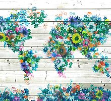 world map floral 3 by BekimART