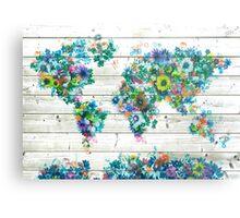 world map floral 3 Metal Print