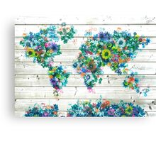 world map floral 3 Canvas Print