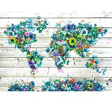 world map floral 3 Photographic Print