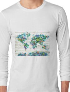 world map floral 3 Long Sleeve T-Shirt