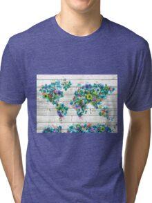 world map floral 3 Tri-blend T-Shirt