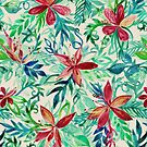 Vintage Tropical Floral - a watercolor pattern by micklyn
