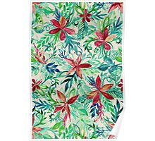 Vintage Tropical Floral - a watercolor pattern Poster