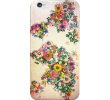 world map floral 4 iPhone Case/Skin