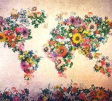 world map floral 4 by BekimART