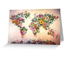 world map floral 4 Greeting Card