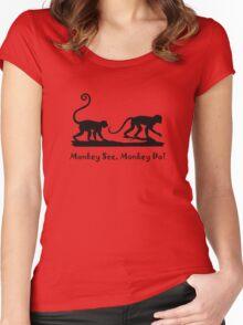 Monkey See Monkey Do Monkeys Silhouette  Women's Fitted Scoop T-Shirt