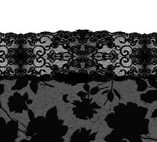 Elegant Black Rose Floral Print Lace Stockings by Blkstrawberry