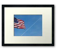 American Flag With Contrail Framed Print